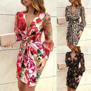 Floral Print Casual Dress Women Streetwear High Waist Multicolor Long Sleeve Vestido Corto Estampado Dresses
