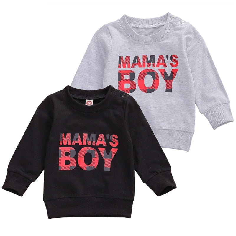 0-3Years Toddler Baby Boy  Coat Long Sleeve Sweatshirts Letter Mama's Boy  Printed Fashion Top