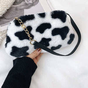 Automn Winter Fluffy Plush Shoulder Bags for Women Fashion Animal Pattern Handbags Female Chain Top-handle Pouch Clutches