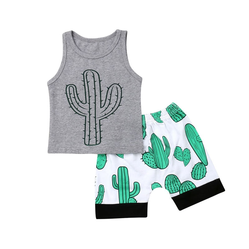 New Casual Toddler Baby Boy Casual Short Sleeve Clothes Cactus Tops T-Shirt Shorts Summer Outfits Set