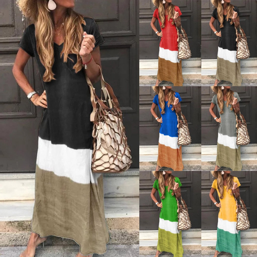 Fashion Women Daily Tie-dyed Color Block Loose V Neck Short Sleeve Maxi Long Dresses Female Dress Vestidos Plus Size