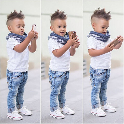 2PCS Baby Boy Clothes Set Toddler Kids White T-shirt Top and Jeans Pants Outfits Boys Clothing Sets 2-7Y