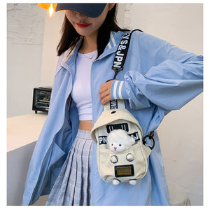 Cartoon Pattern Chest ladies shoulder bag Canvas solid color handbags female bags classic