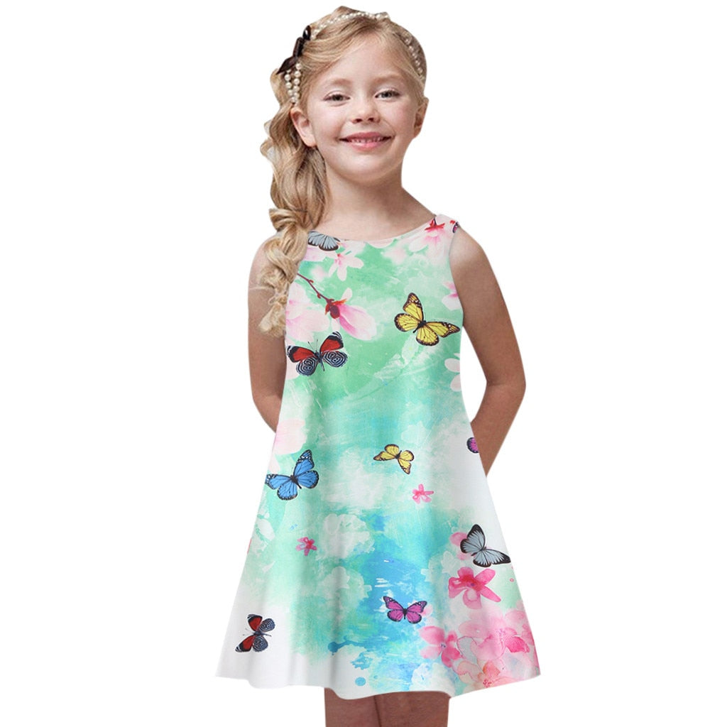 Printing Princess Dress Toddler Girls Summer Kids Baby Party Sleeveless Dresses Daily Streetwear Dress Girls vestido batizado