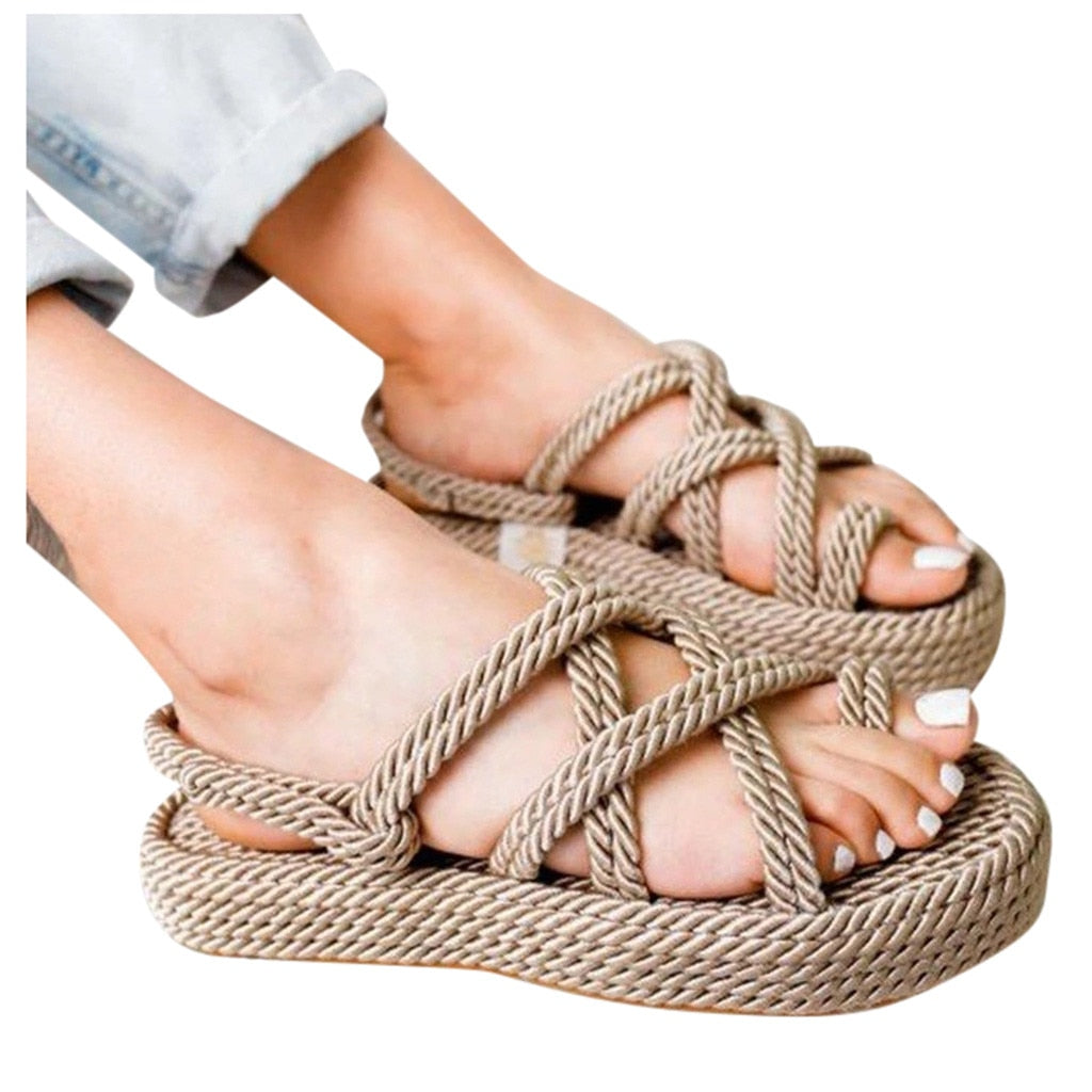 Summer Sandals Women Shoes Linen Rope Platform Beach Slipper Non-slip Hiking Walking Shoes Zapatos De Mujer