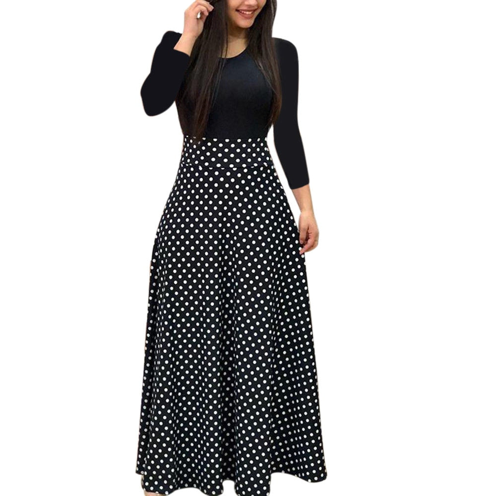 Novelty Print Dress Women Stitching Button Double-layer Collar Long-sleeved Dress Comfortable Soft Vestido Material 2021