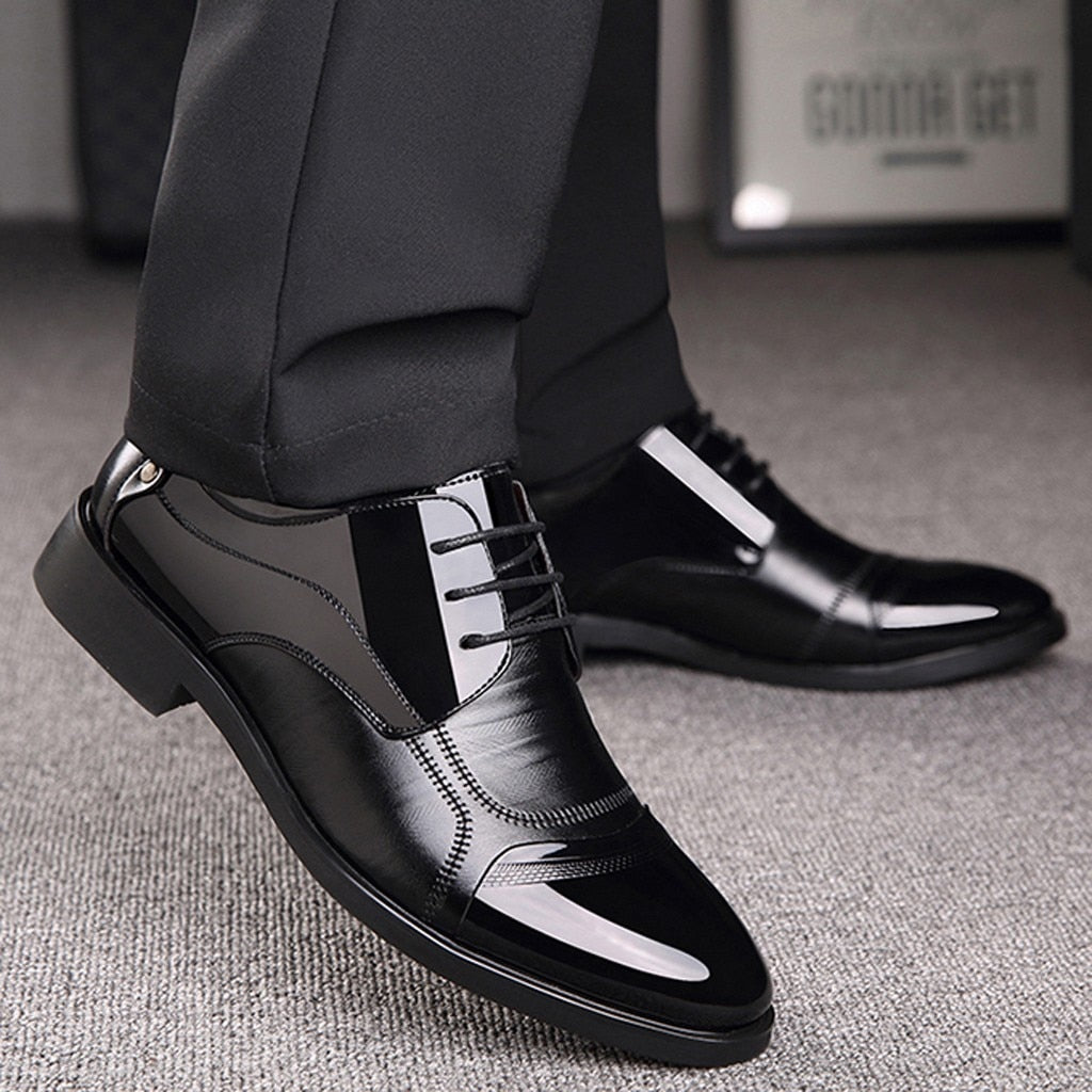 Men's Formal Dress Shoes Leather Business Ankle Shoes Mens Autumn Office Strappy Pointed Toe Low Heel Shoes England Style