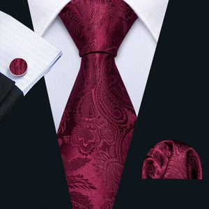 Barry.Wang Men Red Ties Silk Woven Necktie Stripe Tie Hanky Cufflinks Set Medal Neck Tie for Wedding Business Ties