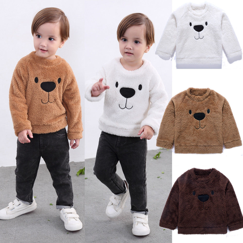 New Fashion Cute Bear Jackets Kids Infant Baby Girl Boy Tops Blouse Sweater Sweatshirt Thick Autumn Warm Clothes