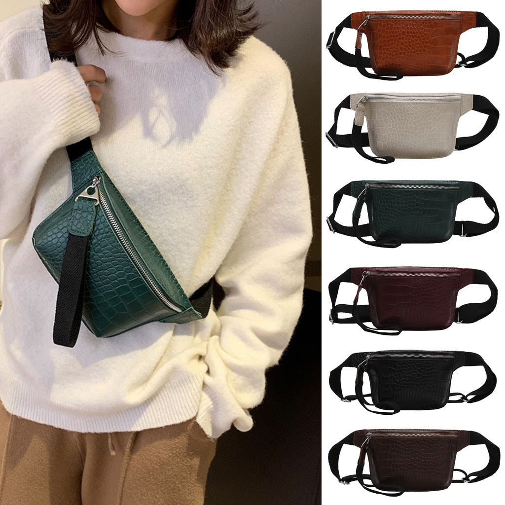 Fashion Outdoor Women's crocodile leather multicolor chest bag fashion high quality handbag Chest Waist Purse Bags Top