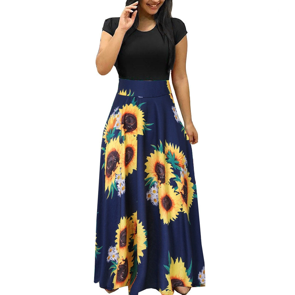 Summer Dress Womens Sunflower Print Dresses Sundress Short Sleeve Casual Swing Dress Maxi Dress Ankle-Length Swing Maxi Dress