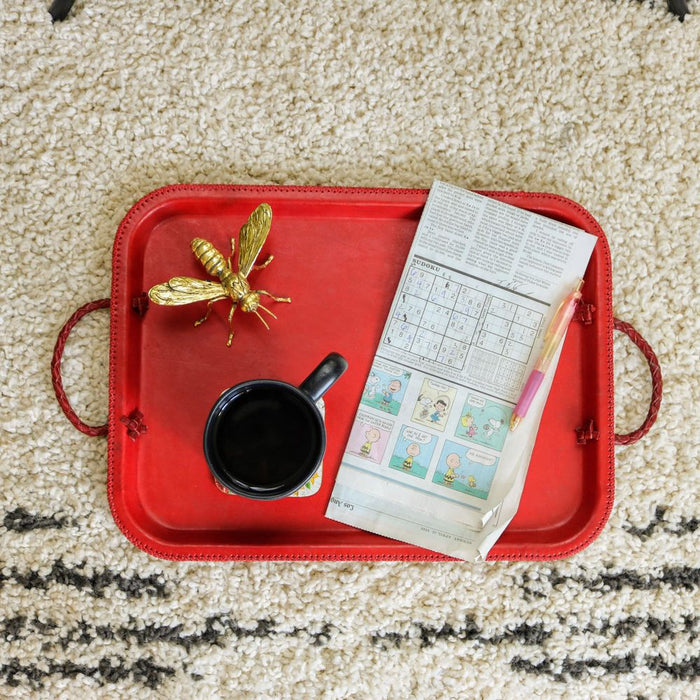 Baila | Red Leather Serving Tray with Braided Handles