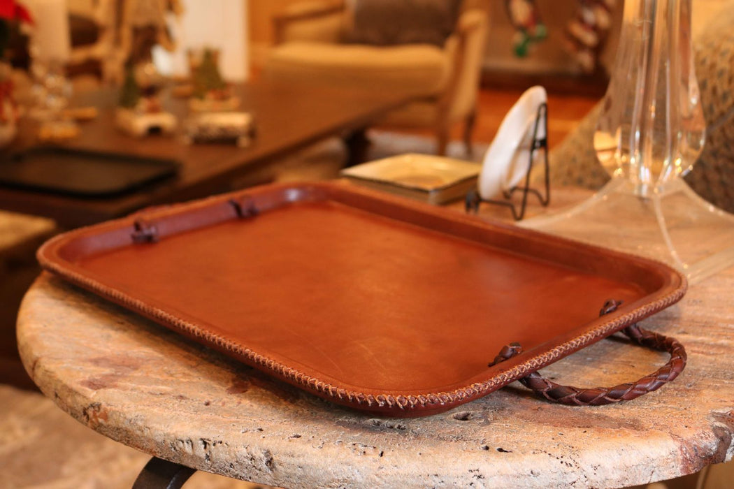 Caballo | Brown Leather Serving Tray with Braided Handles