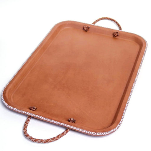 Hermana | Leather Serving Tray with Braided Handles