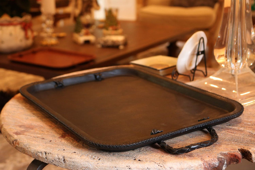 Primo | Black Tray with Braided Handles