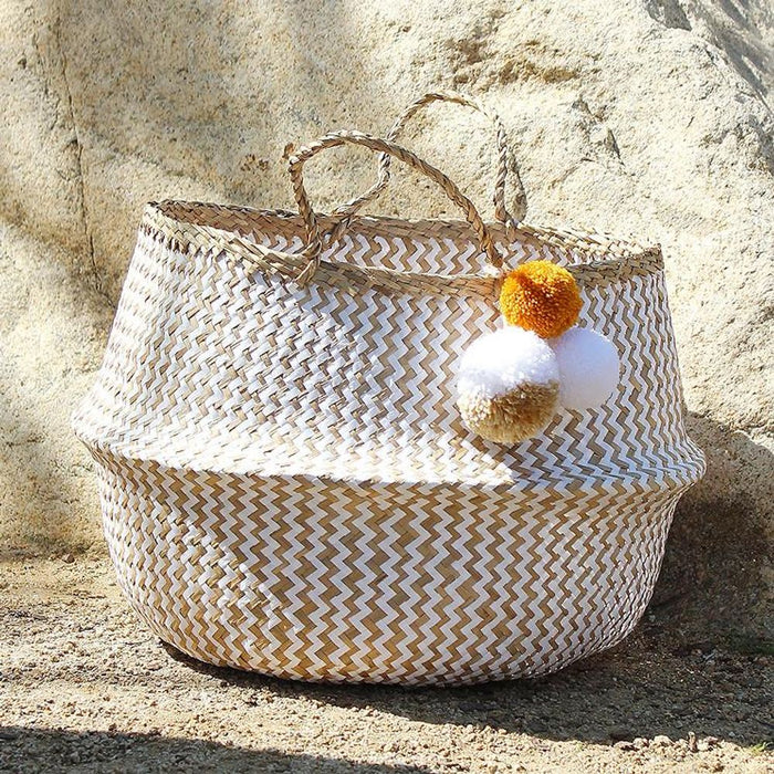 BORREGO X BORNEO No. 5 - Woven Straw Basket Bag