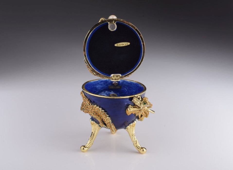Blue Faberge Egg with Dragon Music Playing Egg
