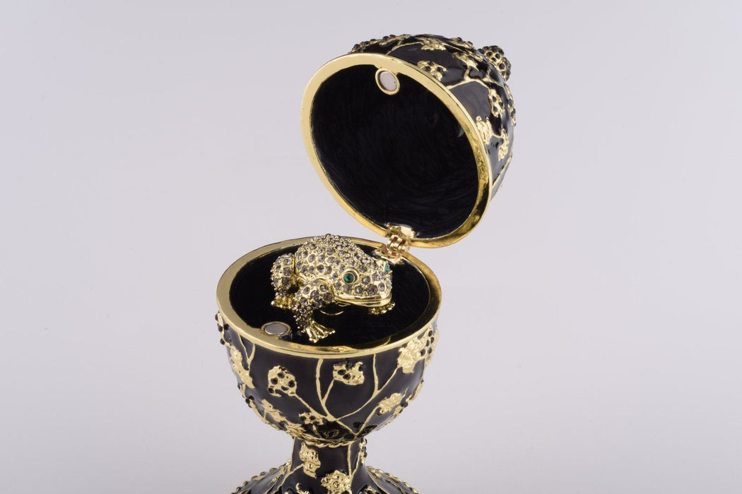 Black Faberge Egg with Silver Frog Surprise Inside