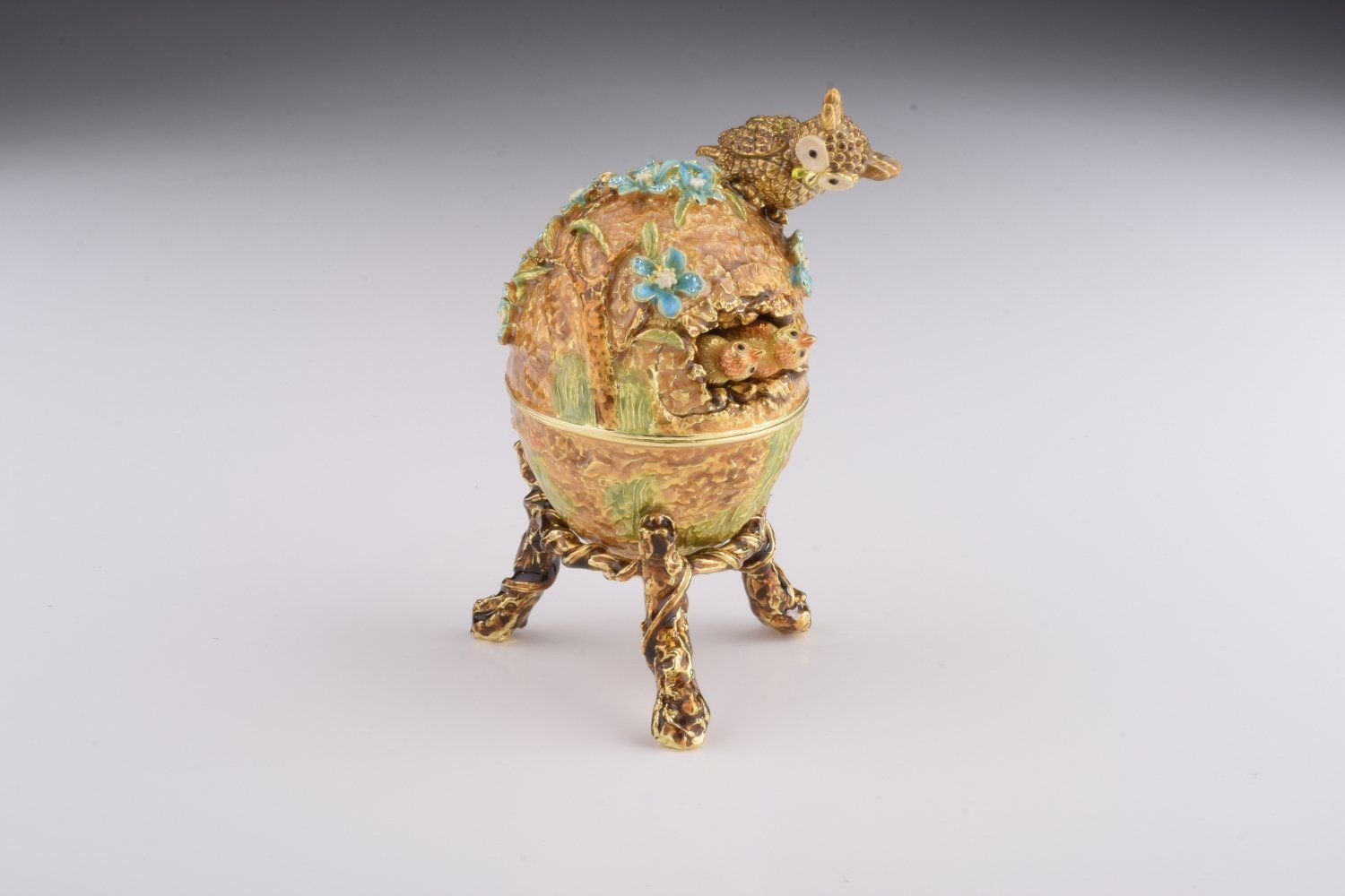 Brown Faberge Egg with Owls Nest