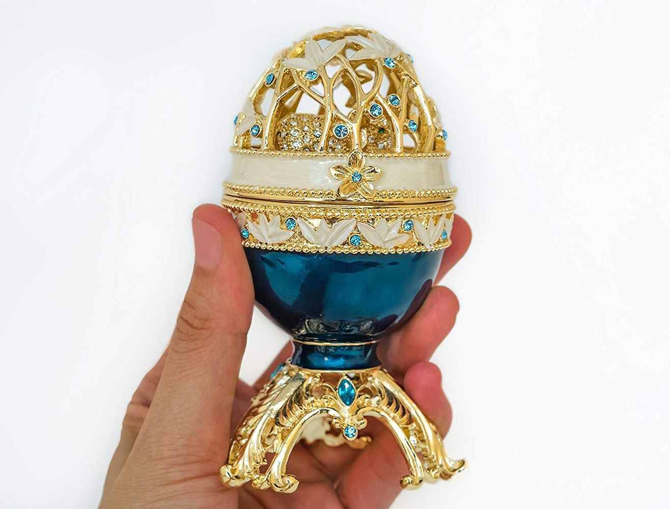 Golden Blue Faberge Egg with a Golden Elephant