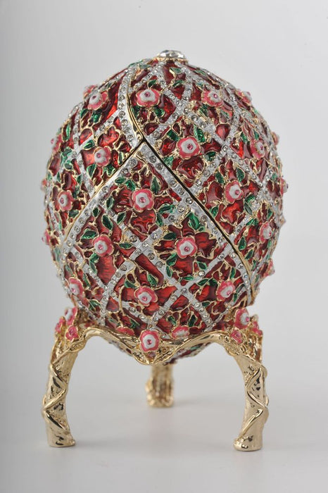 Red Roses Faberge Egg With a Surprise Colorful Ball Inside