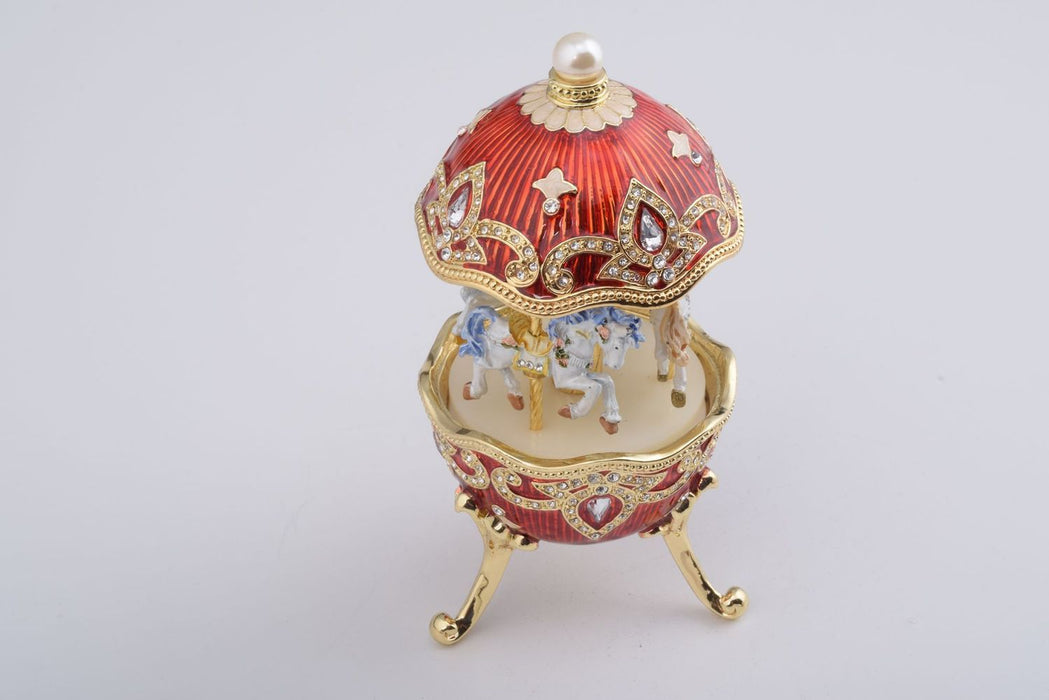 Red Wind up Horse Carousel Faberge Style Egg