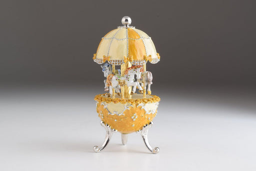 Yellow Faberge Egg Carousel Wind up Music Box