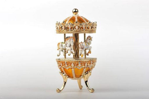 Yellow Faberge Egg with Horse Carousel