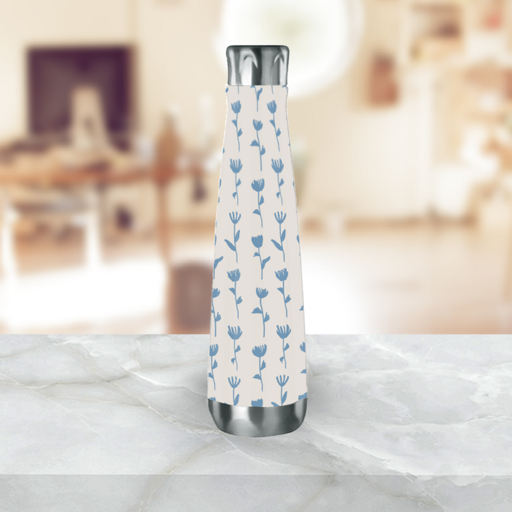 Light Blue Flower Water Bottle