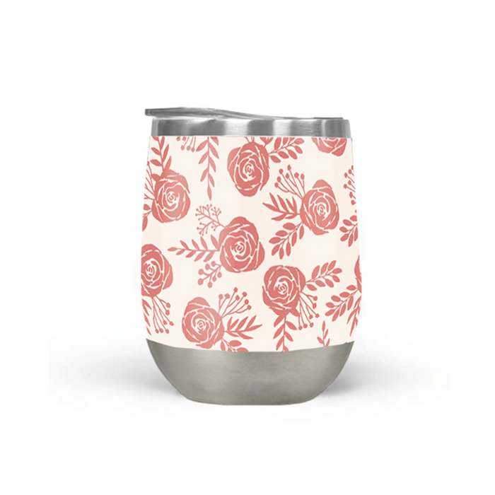 Warm Pink Floral Wine Tumbler