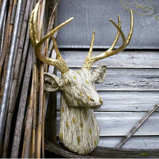 Faux Wood Grain Stag Head Woodland Theme Antler Deer