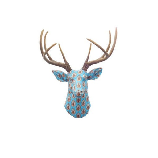 Faux Blue Teardrop Pattern Fabric With Brown Antler Deer
