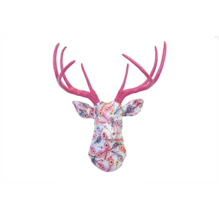 Faux Light Blue and Pink Peacock Deer