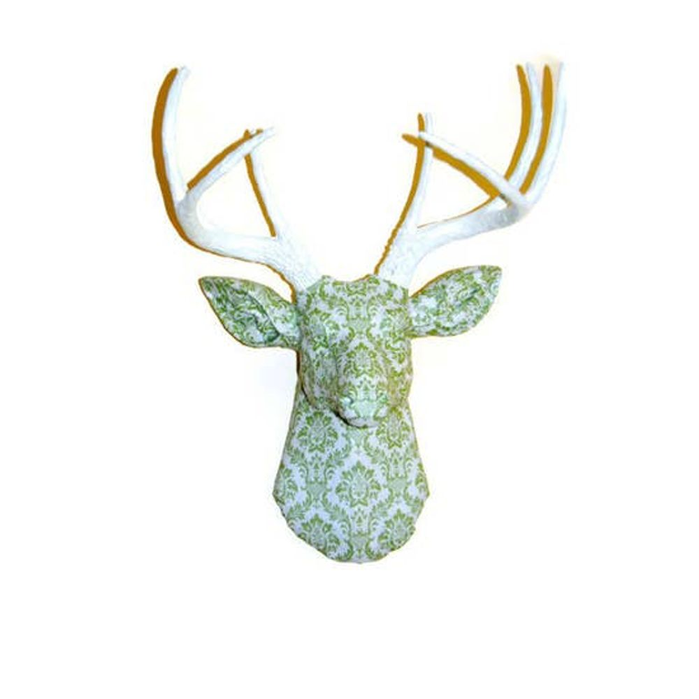 Faux Green and White Damask Fabric Deer