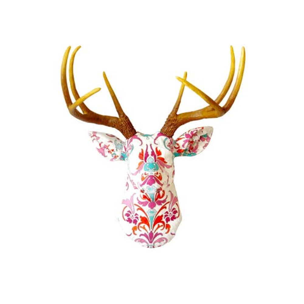 Faux Colorful Damask Fabric Deer