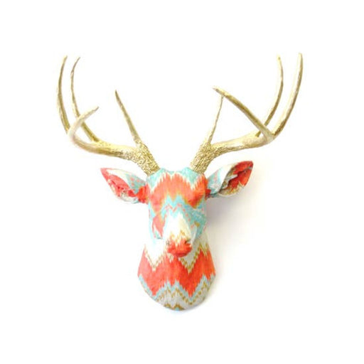 Faux Vibrant Multi-Color Chevron Fabric Deer