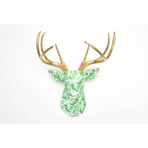 Faux Green and White Tropical Leaf Fabric Deer With Gold Antlers