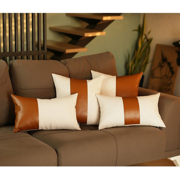 Decorative Vegan Faux Leather Lumbar Throw Pillow Cover