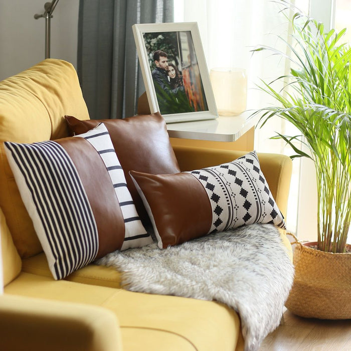 Decorative Vegan Leather Throw Pillow Cover