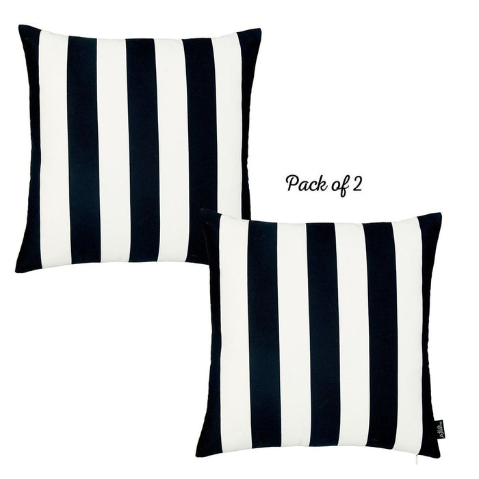 "Geometric Black Stripes Square 18"" Throw Pillow Cover (Set of 2)"