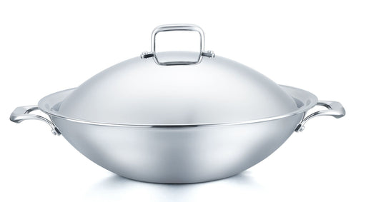 "316 Series - 15.75"" 5ply Surgical Stainless Steel Flat-Bottomed Wok with Domed Cover and BONUS GIFT: Two Silicone Mini Gloves"