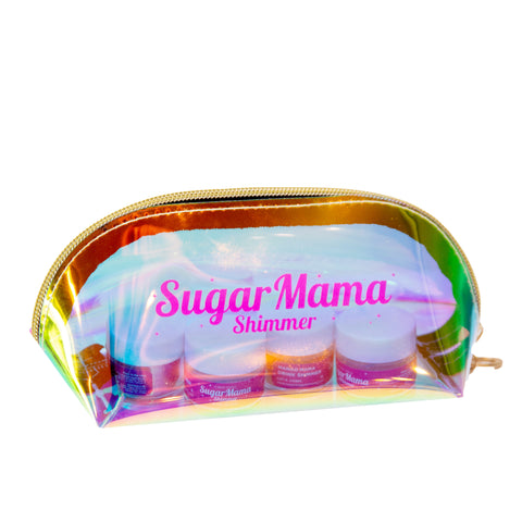 Sugar Mama Shimmer zipper pouch in irridescent and magenta pink logo is a must to hold your jars of edible glitter!  Take them along in your purse!