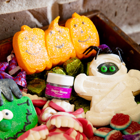 Pumpkin peeps and Mummy cookie dusted with Sugar Mama Shimmer Ice Queen White edible glitter.