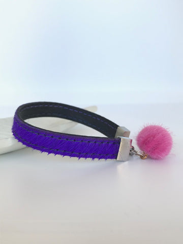 RTB001 Leather pompom single wrap - purp