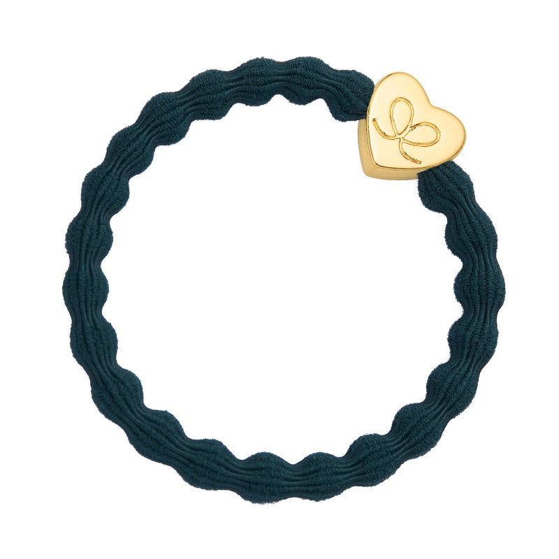 By Eloise Bangle Band - Bottle Green /Gold Heart