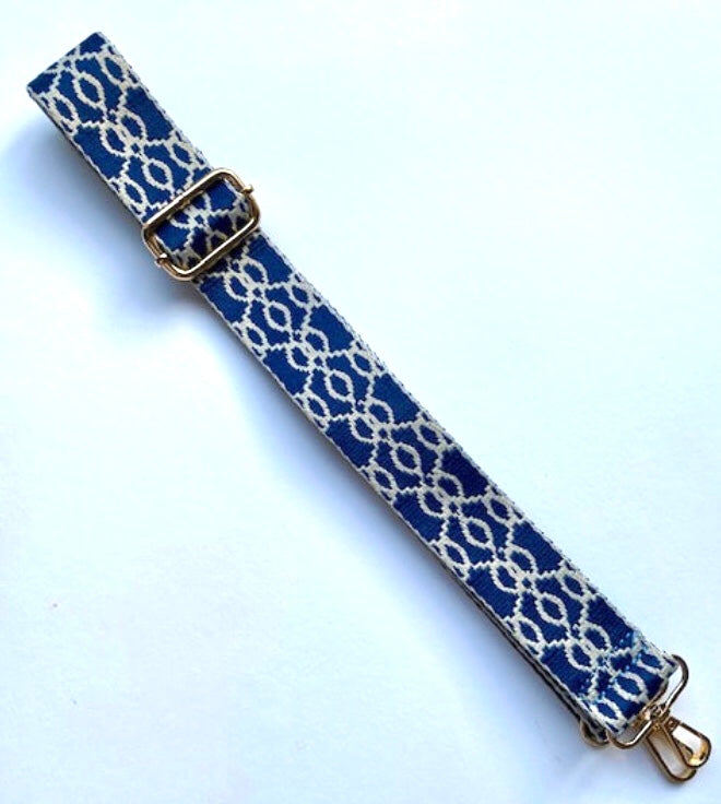Jacquard Bag Strap - Navy Blue