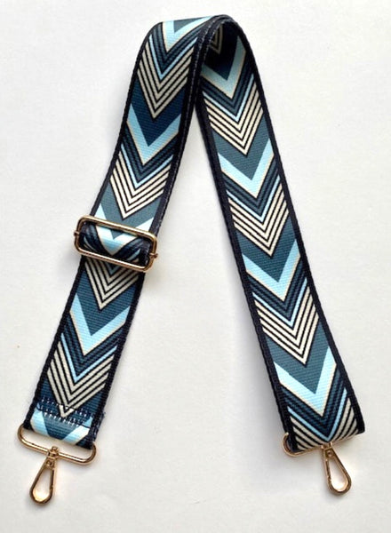 Chevron Bag Strap - Blue