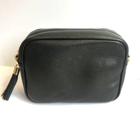 Vegan Leather Cross Body Bag - Black