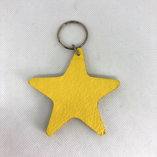 Leather Star Keyring  Various Colours