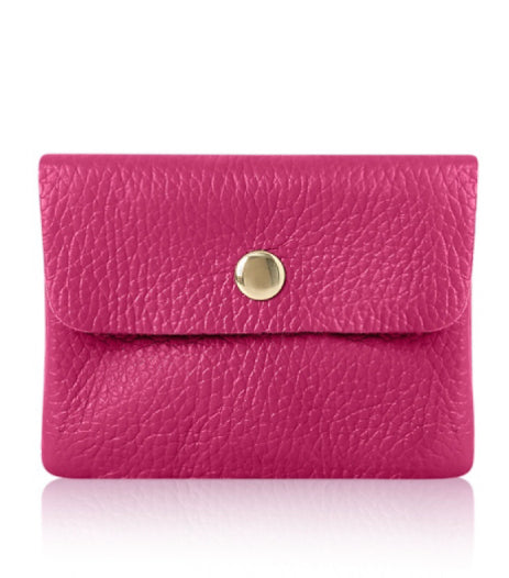 This small Italian purse has a zipped compartment for coin and 2 further compartments for notes and cards. With a gold press stud closure . Perfect match with our Lila bag in the same colour .